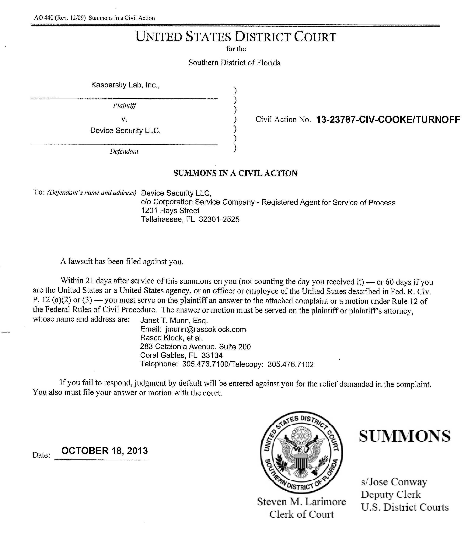 Kaspersky Lab vs Patent Troll Device Security