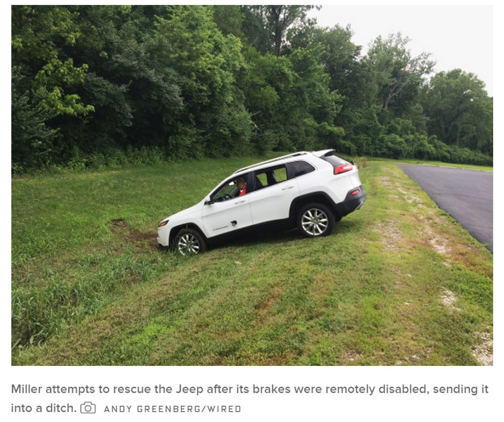 Jeep Cherokee smart car remotely hacked by Charlie Miller and Chris Valasek. The image originally appeared in Wired