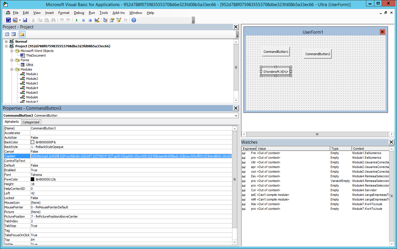 The VBA user form contains three buttons. One of the buttons contained the encrypted URL.