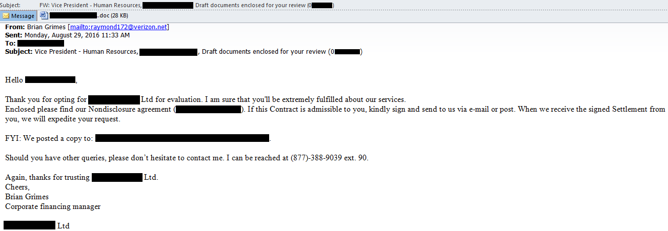 "Phishing email containing Nymaim Trojan with subject ""Vice President – Human Resources"" and containing a ""draft"" document for recipient's review."