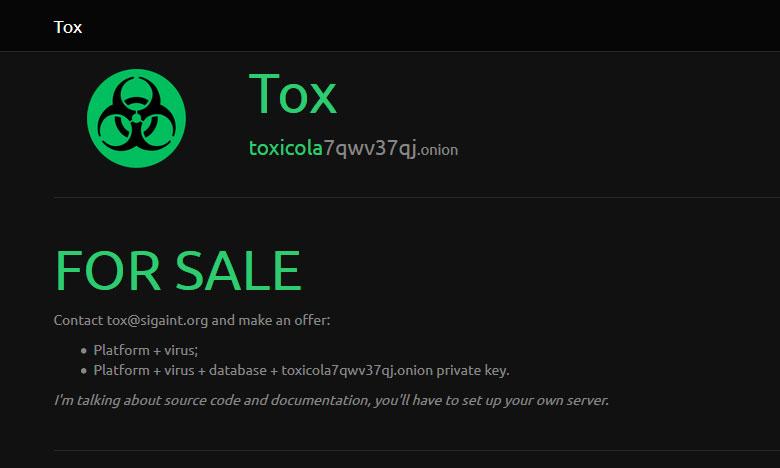 Tox выставлен на продажу