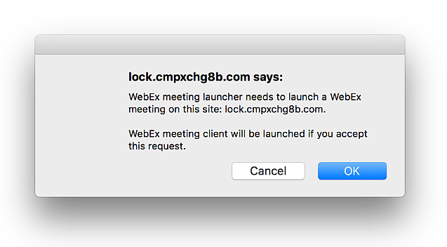 cisco webex patch popup