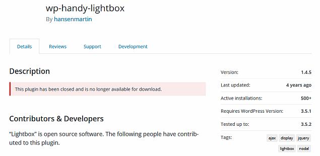 Handy Lightbox installs - WordPress