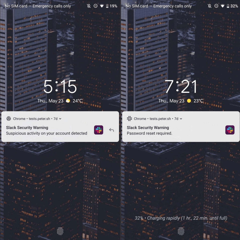 Android-fake-push-notifications