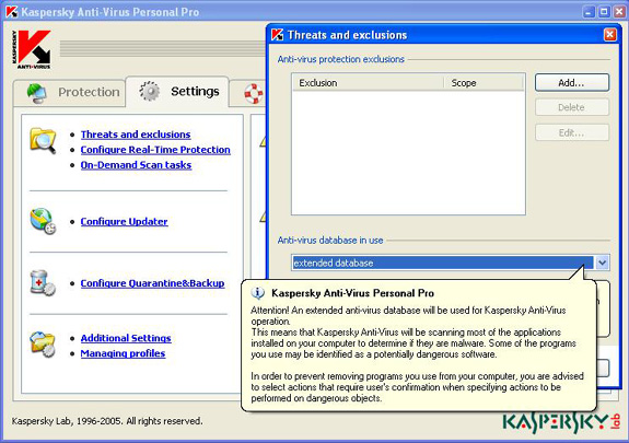 Screenshot of KAV Personal with Threats and exclusions window open