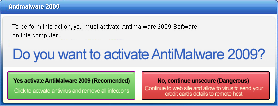 Activation message displayed by FraudTool.Win32.AntiMalware2009