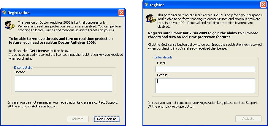 Activating FraudTool.Win32.DoctorAntivirus (left)