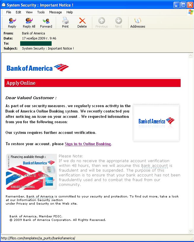 Bank of America 4.22 one the phishers...