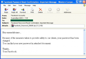 Malware found in spam messages during December 2009-2