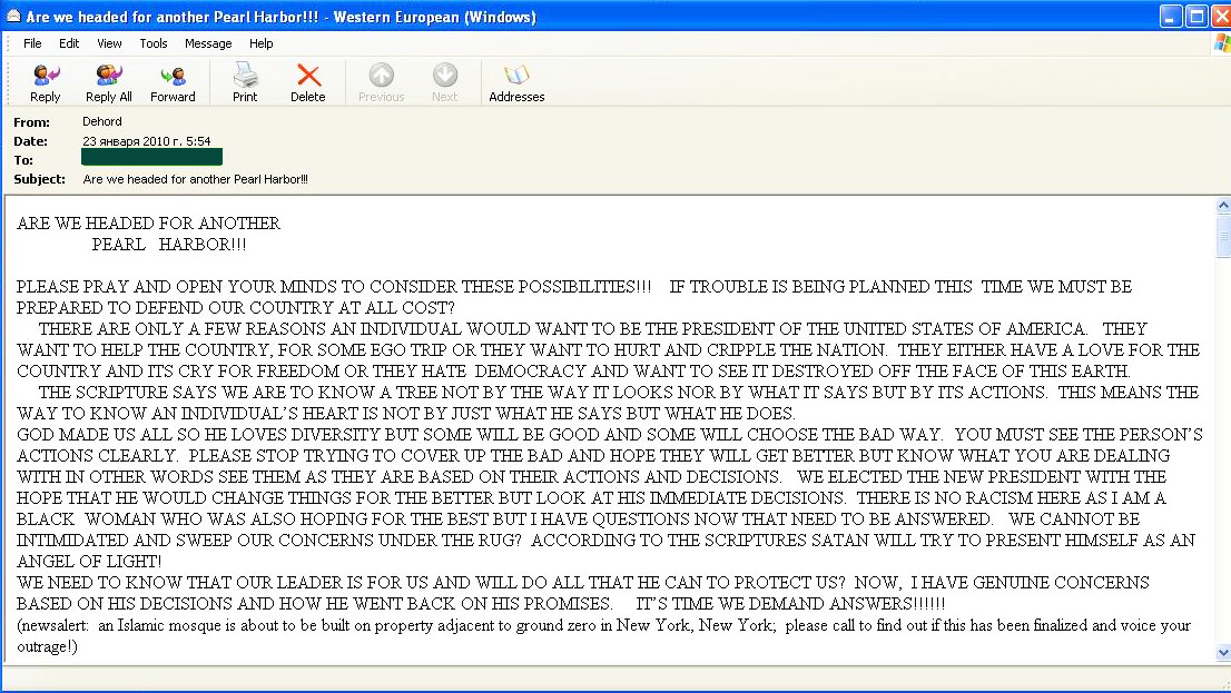 In addition English-language spammers continued to send provocative...