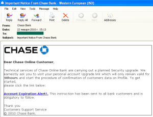 The same scam was used by phishers targeting clients of Chase Bank...