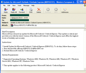 Malicious programs packed with the help of Krap.x were also distributed in emails that offered users the chance to install a Microsoft Outlook update