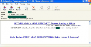 Mothers Day also saw the distribution of bulk emails offering cheap flowers...
