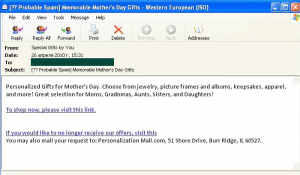 In the run-up to Mothers Day spammers became more active...