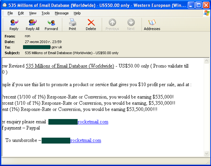 In July English-language spam mostly included messages...