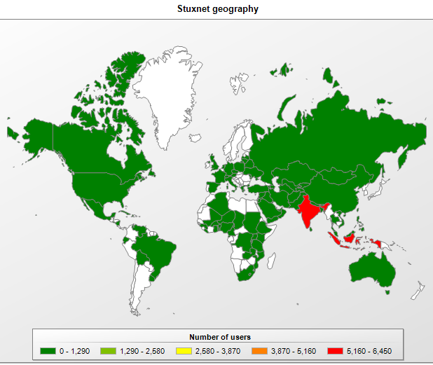 This malicious program has primarily infected India Indonesia and Iran. A map of its geographical distribution is shown below