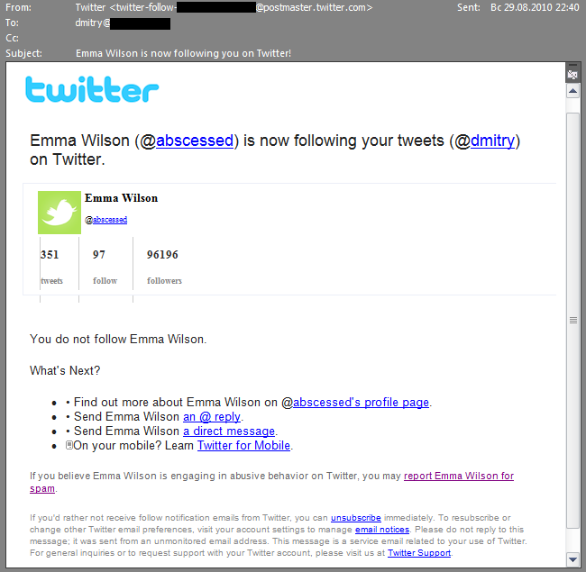 A spam email that mimics a Twitter notification