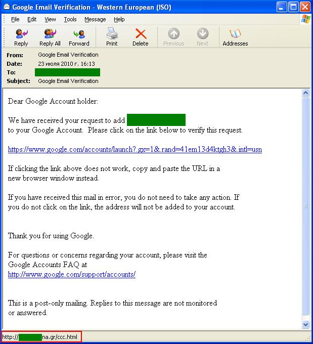 Below is an example of a fairly unusual phishing email targeting Google users