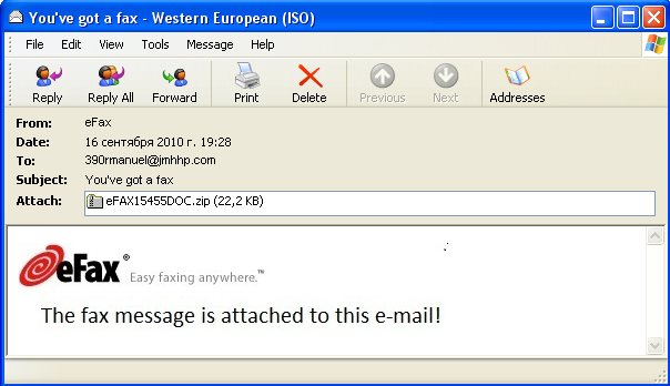 An example of an email with a graphical attachment