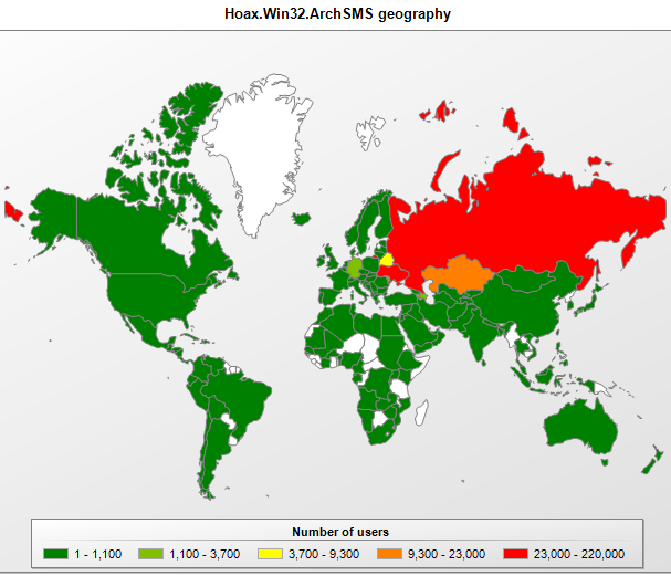 The geographical spread of Hoax.Win32.ArchSMS detections