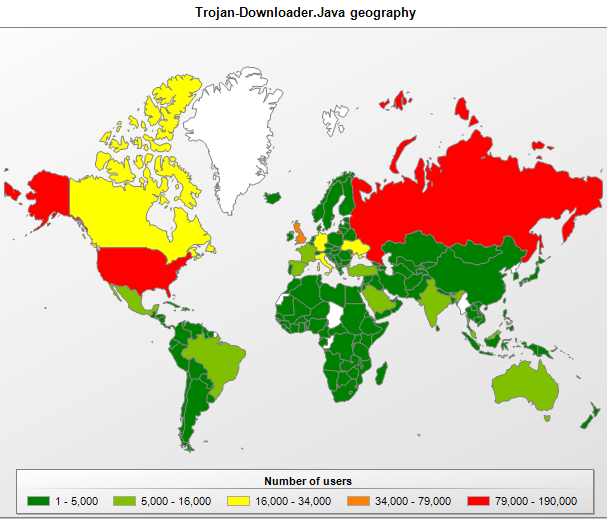 The geographical spread of detected members of the Trojan-Downloader.Java family