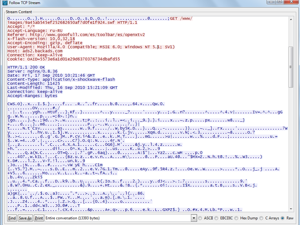 A fragment of a malicious SWF file