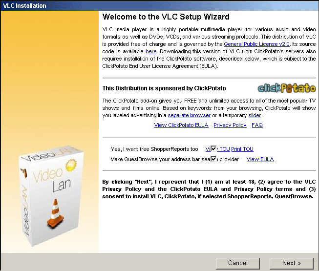 Installation of ClickPotato adware along with VLC Media Plater