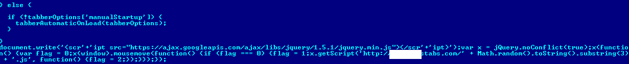 Fragment of script infected by Trojan-Downloader.JS.Agent.gay