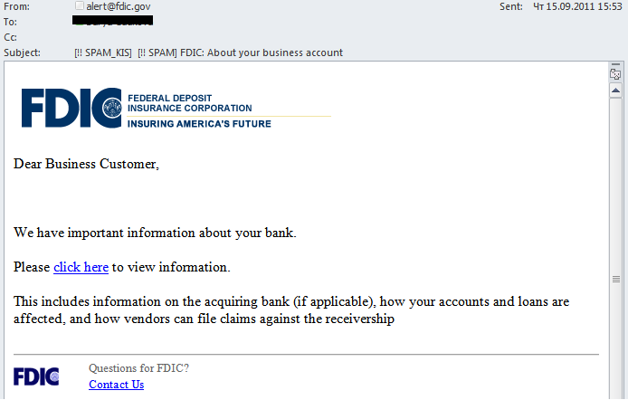 Some users also received an email that appeared to come from the Federal Deposit Insurance