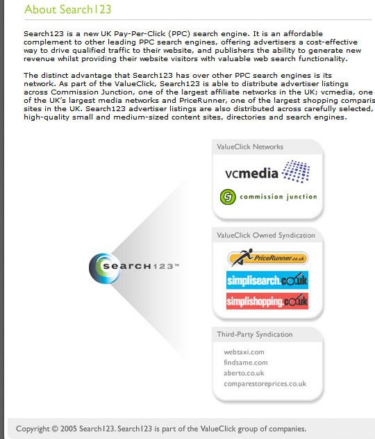 Description of the Search123 partner program