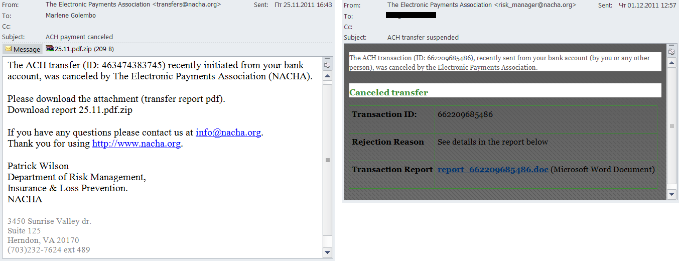 Fake notifications from NACHA invited users to open an attachment or to follow a link in order to cancel transactions