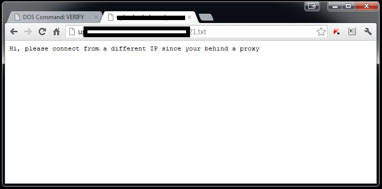 The website is actually only a textfile containing a static text: Hi,  please connect from a different IP since your behind a proxy
