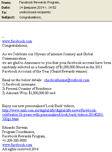 Your Facebook Account Has Won a Prize! | Securelist