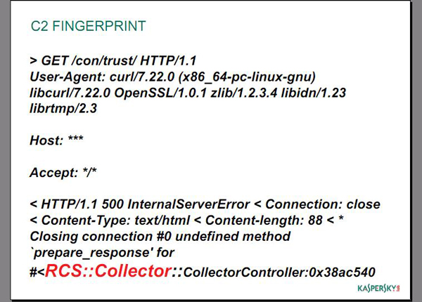 Slide from our VB presentation with HackingTeam's C2 fingerprint