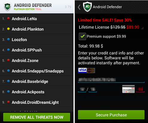Ransomware targeting Android devices, disguised as a protection application