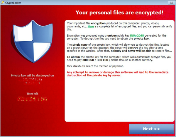 Cryptolocker encrypts your files and they can only be recovered using the hacker's key