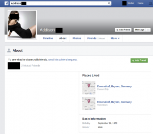 Spammers Facebook Profile About-Page