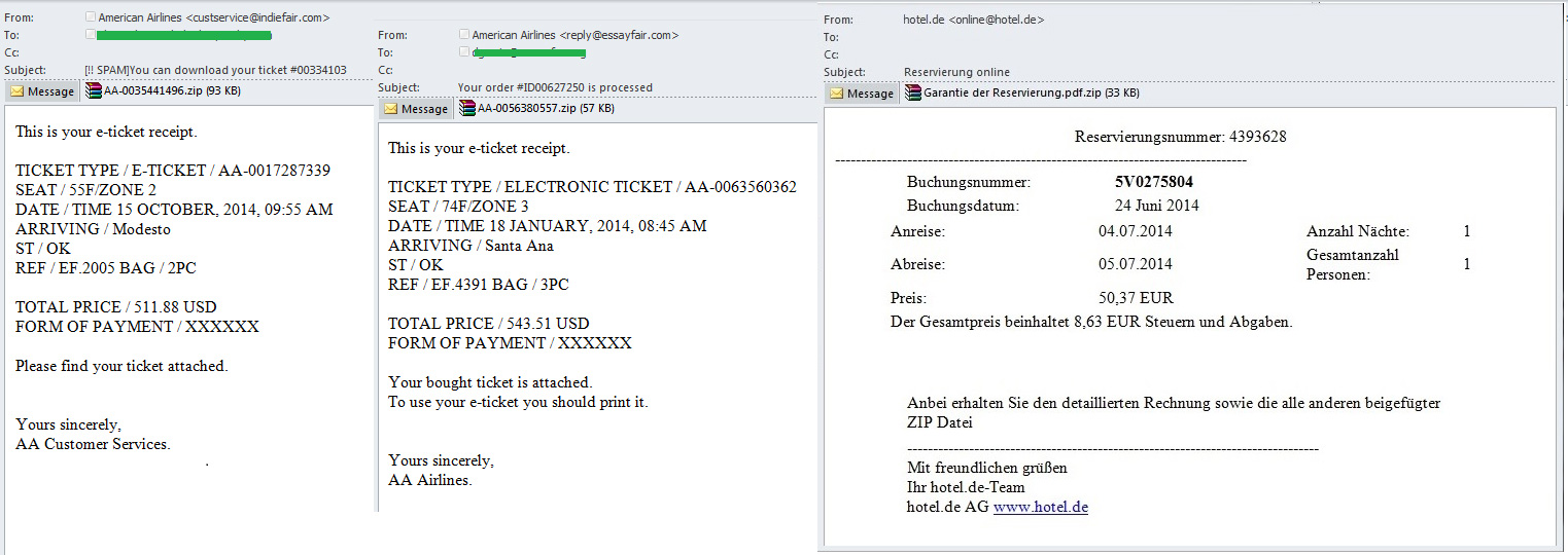 Spam and phishing in the q3 of 2014 securelist malicious messages from booking systems spiritdancerdesigns Images