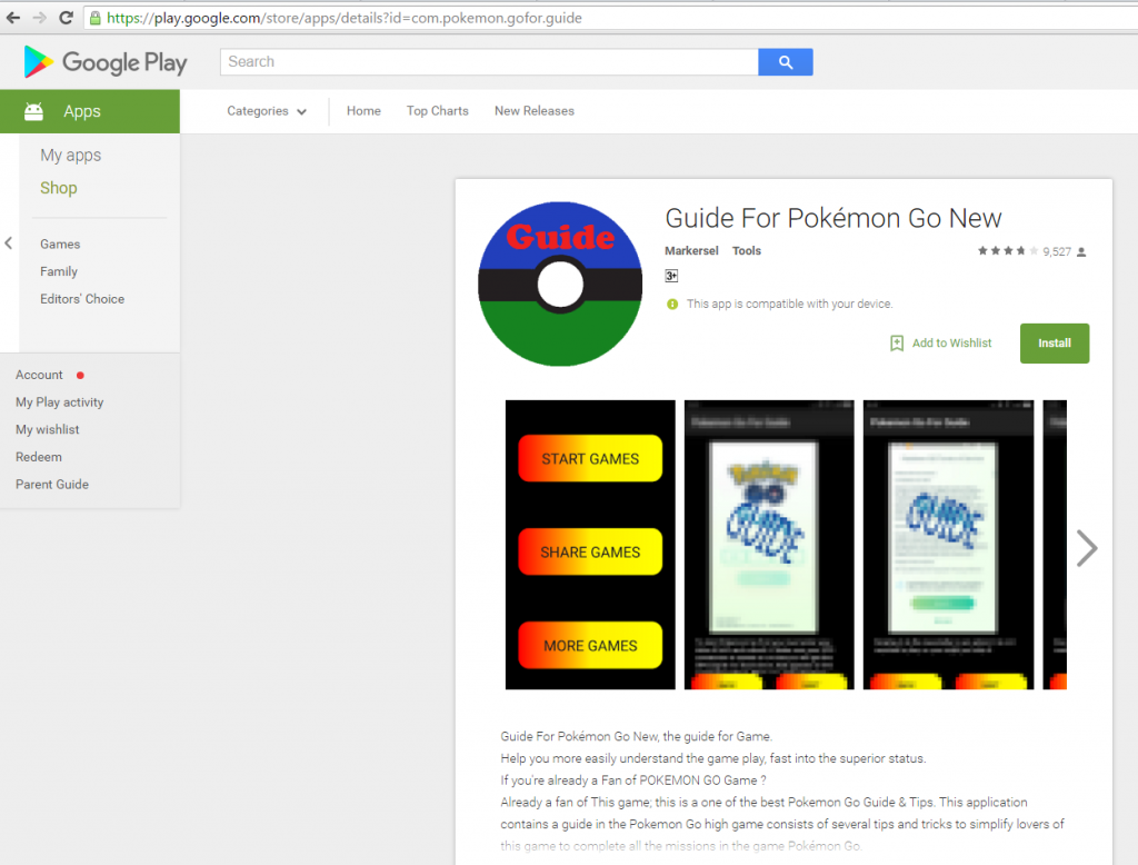 Rooting Pokémons in Google Play Store