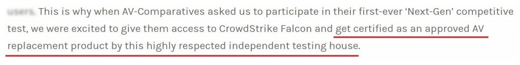 Crowdstrike claims it's certified by AV-Comparatives as a 'Legacy AV' replacement