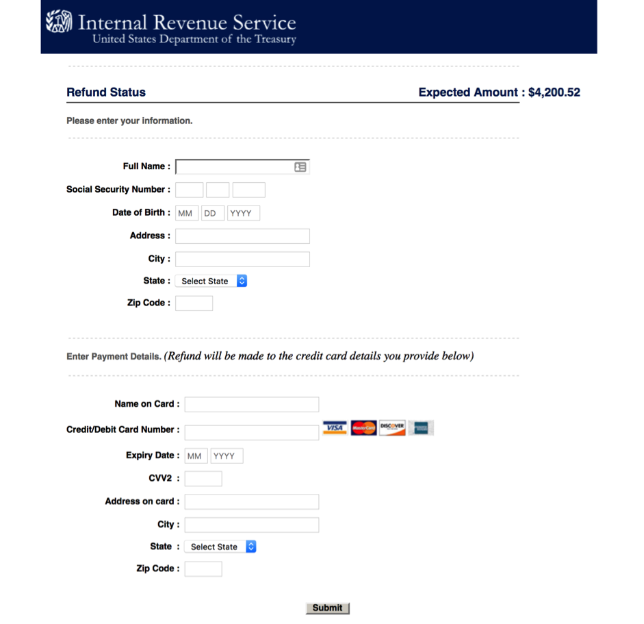 Cybercriminals target early IRS 2018 refunds now   Securelist
