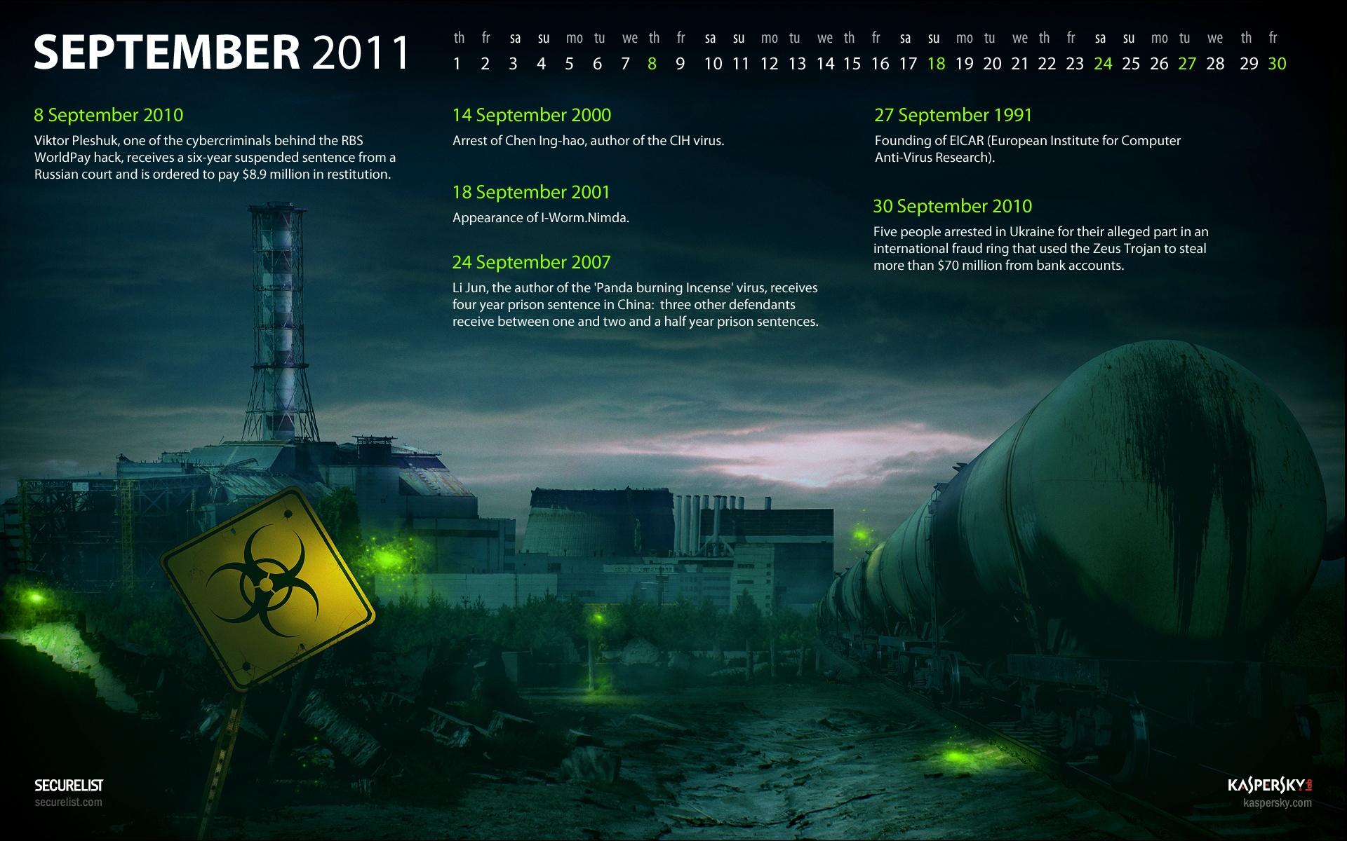 Malware Calendar Wallpaper for