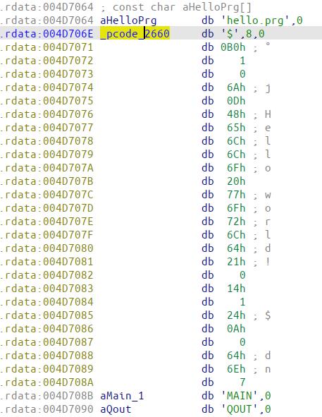 Figure 4: Harbour pcode of hello.exe