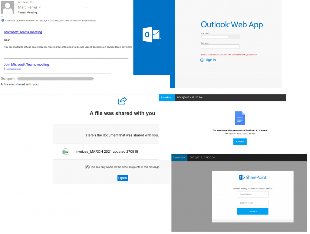 Spam and phishing in Q22021: scam emails supposedly from Microsoft services and fake login pages